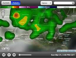 3 p.m. forecasted radar