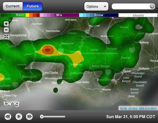 5 p.m. forecasted radar
