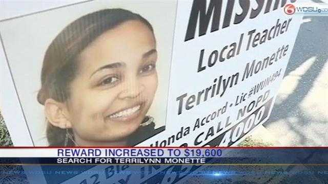 Crimestoppers announced that the reward for information in the search for missing teacher Terrilynn Monette was raised to $19,600.