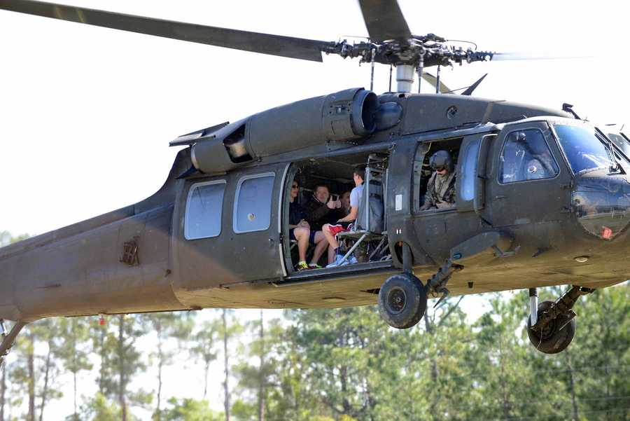 JROTC cadets take rides in a Blackhawk helicopter.