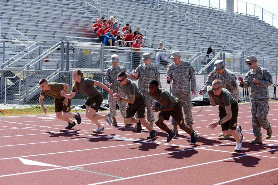 JROTC cadets take off on the track.