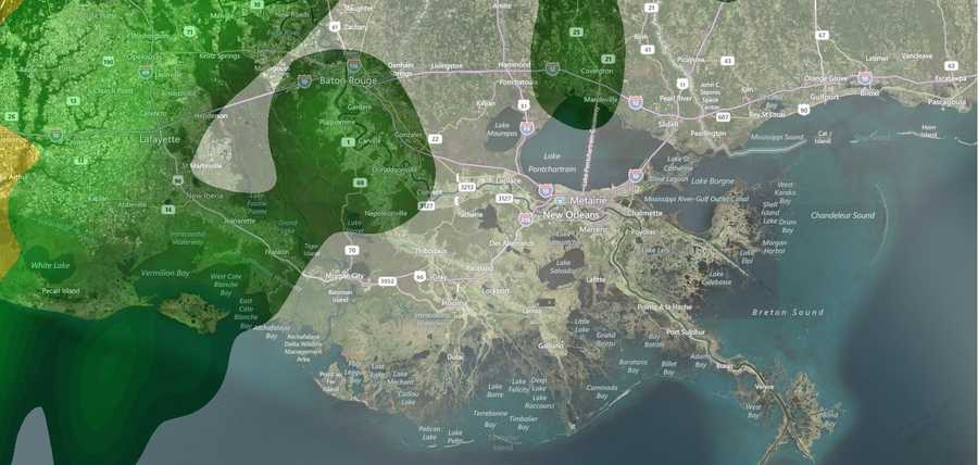 Thursday 5 a.m.: Heavy rain with the chance for severe weather is set for Thursday morning across the New Orleans metro area. Take a look at what WDSU.com' Interactive Radar predicts for Thursday morning.