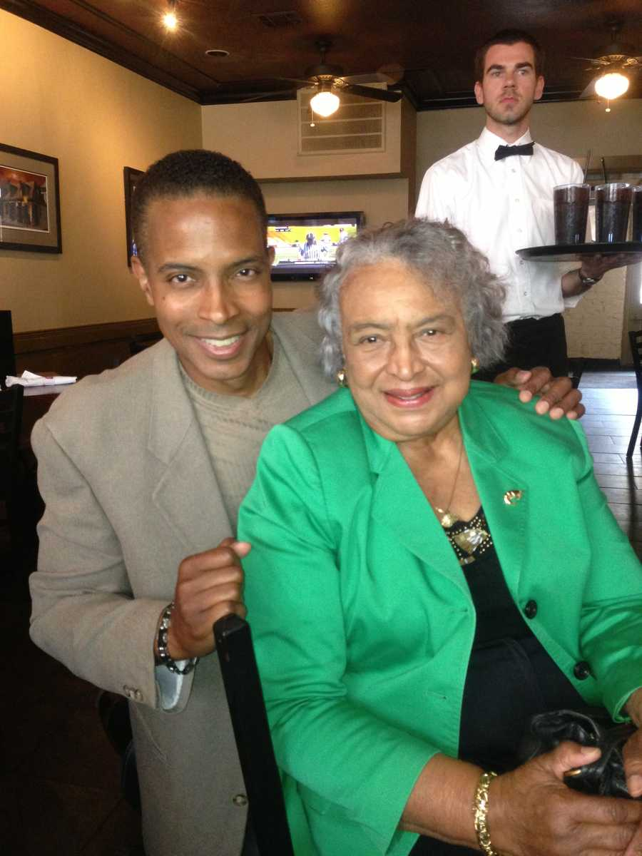 Damon Singleton with his mother
