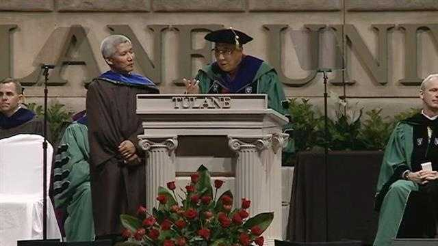 Dalai Lama reminds graduates that education alone doesn't necessarily give them inner peace.