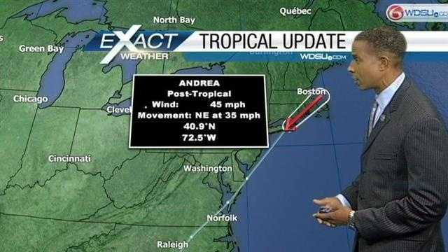 Andrea works its way up the east coast.