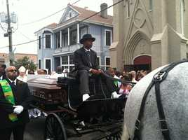 A horse-drawn caisson led the way for hundreds during a funeral procession winding through the streets of Treme Saturday celebrating the life and legacy of a respected pillar in the community.