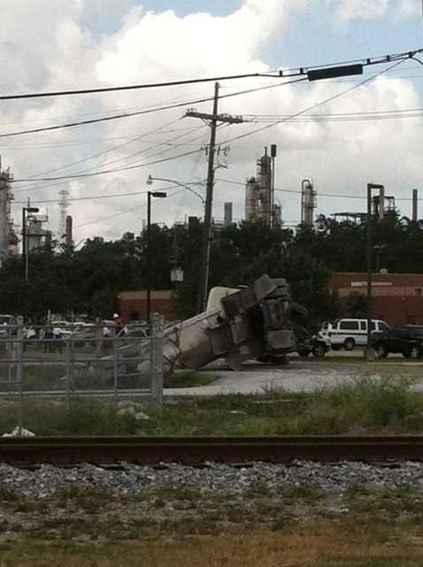 A tanker overturned in Chalmette Wednesday morning. A member of WDSU.com's u local community send photos of the scene at Paris Road at East St. Bernard Highway.