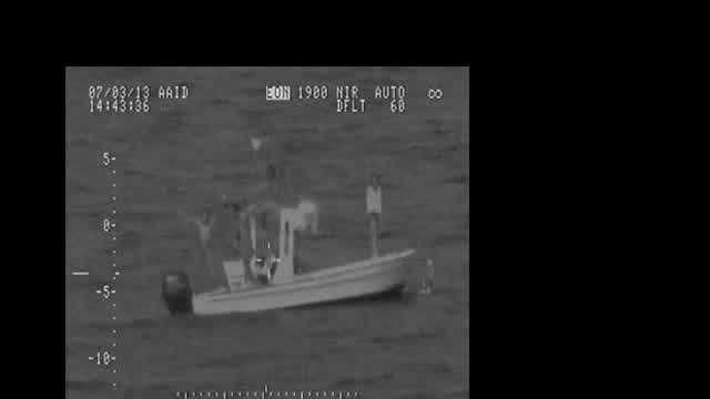The U.S. Coast Guard released video after it located nine boaters Wednesday who went missing over the weekend.