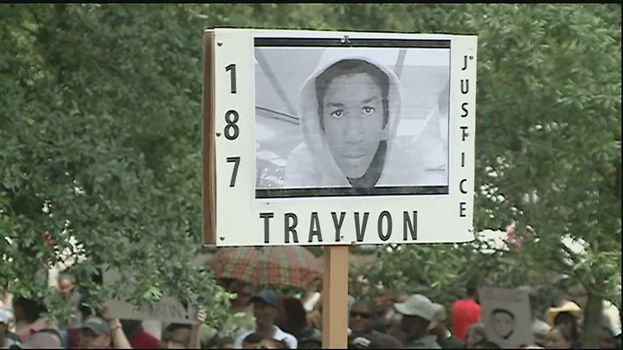 Hundreds stood peacefully outside Federal Court demanding justice for Trayvon Martin.