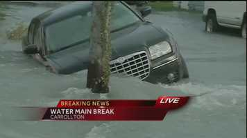 A water main break in the Carrollton neighborhood is causing street flooding Tuesday morning.