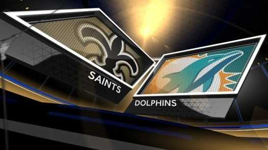 Saints vs Dolphins logos