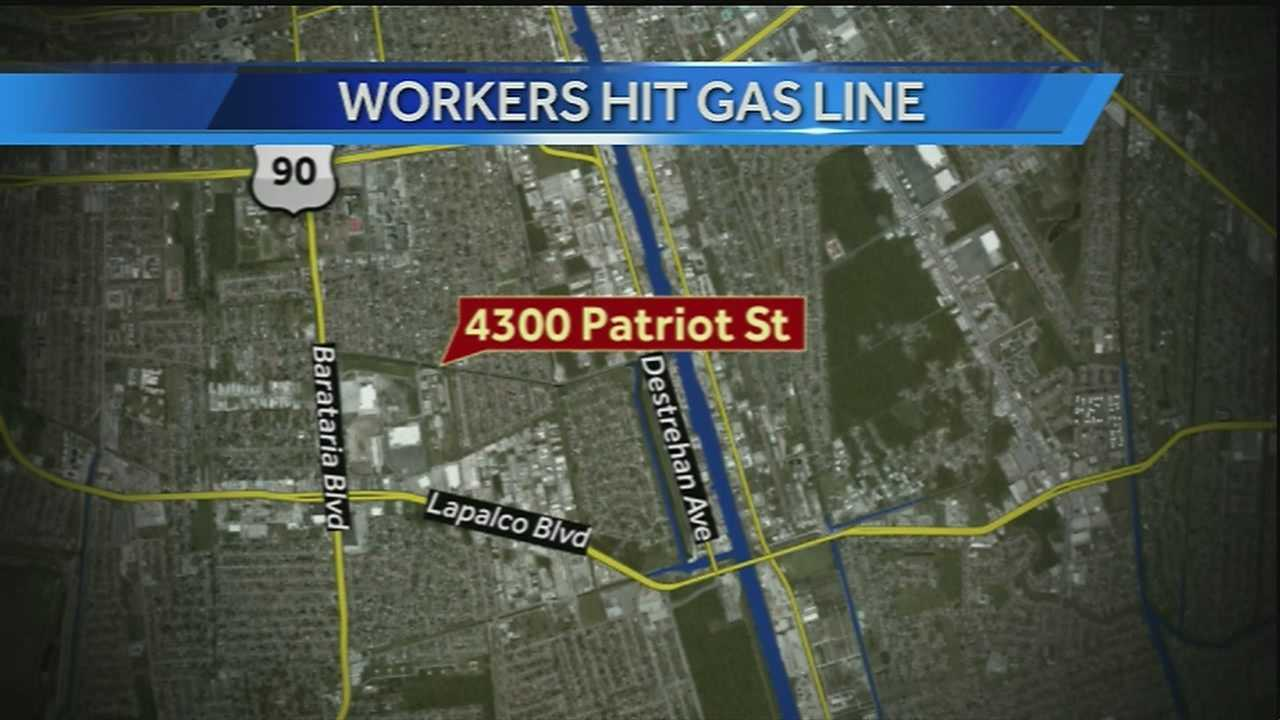 Gas line hit near John Ehret High School