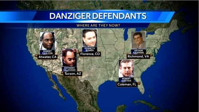 The five officers convicted in connection with the killings and cover-ups on the Danziger Bridge were assigned to different federal prisons spanning the entire country.