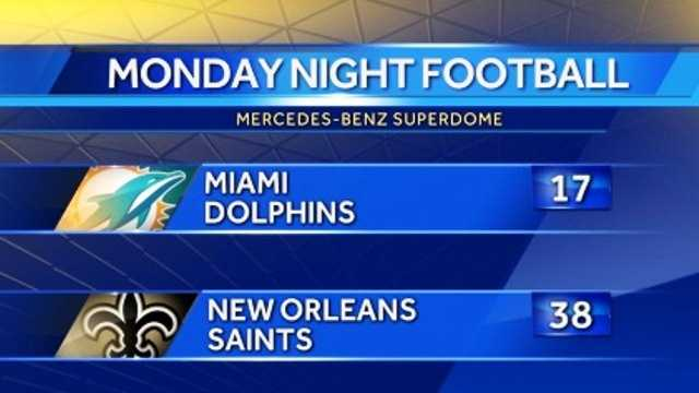 Saints beat Dolphins, scoreboard