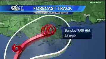 Graphic depicting the forecast track of Karen. The disorganized tropical system is expected to cross southeast Louisiana early Sunday morning as a depression.