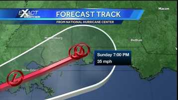 Forecast graphic showing Tropical Storm Karen's second landfall across extreme southeast Mississippi, south Alabama.