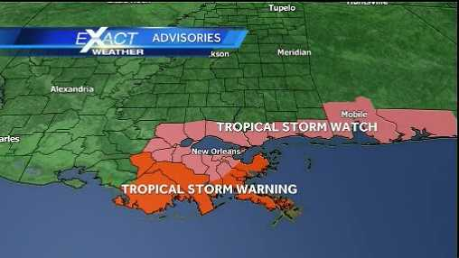 Tropical Storm watches and warnings remain in effect for southeast Louisiana and south Mississippi as of 1 p.m. Saturday.