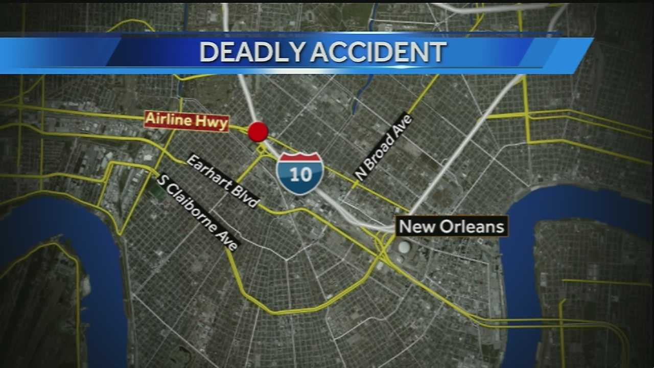 A 70-year-old man was killed Monday afternoon in a crash on Interstate 10 near the Airline Highway Exit.