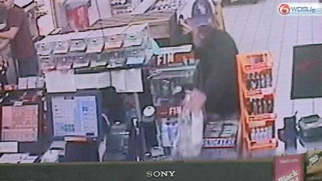 Police are searching for the man who stole a money jar being collected for cancer reserach