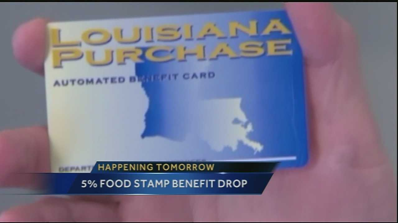 The reduction is estimated to be anywhere from $11 to $43 or more each month, depending on how many people live in the household. That's about a 5 percent reduction, according to the Louisiana Department of Children and Family Services.