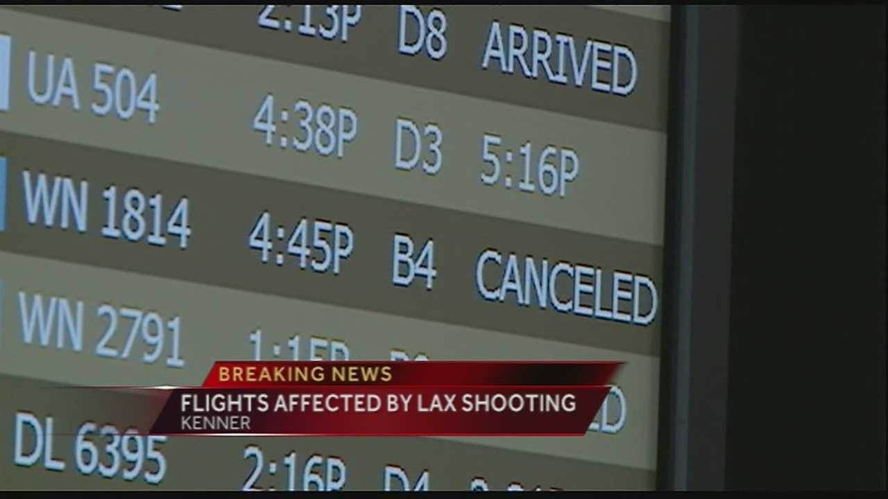 Some flights departing from New Orleans Louis Armstrong International Airport to LAX were canceled on Friday after a shooting was reported at the Los Angeles airport.