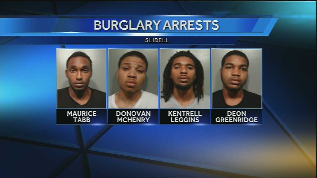 Four people were arrested in connection with burglaries in the Slidell neighborhood -- It was the second bust in as many days.