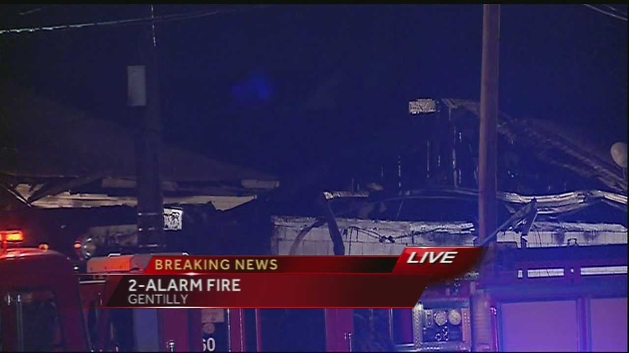 New Orleans Fire Department is investigating a two alarm fire in Gentilly Area.