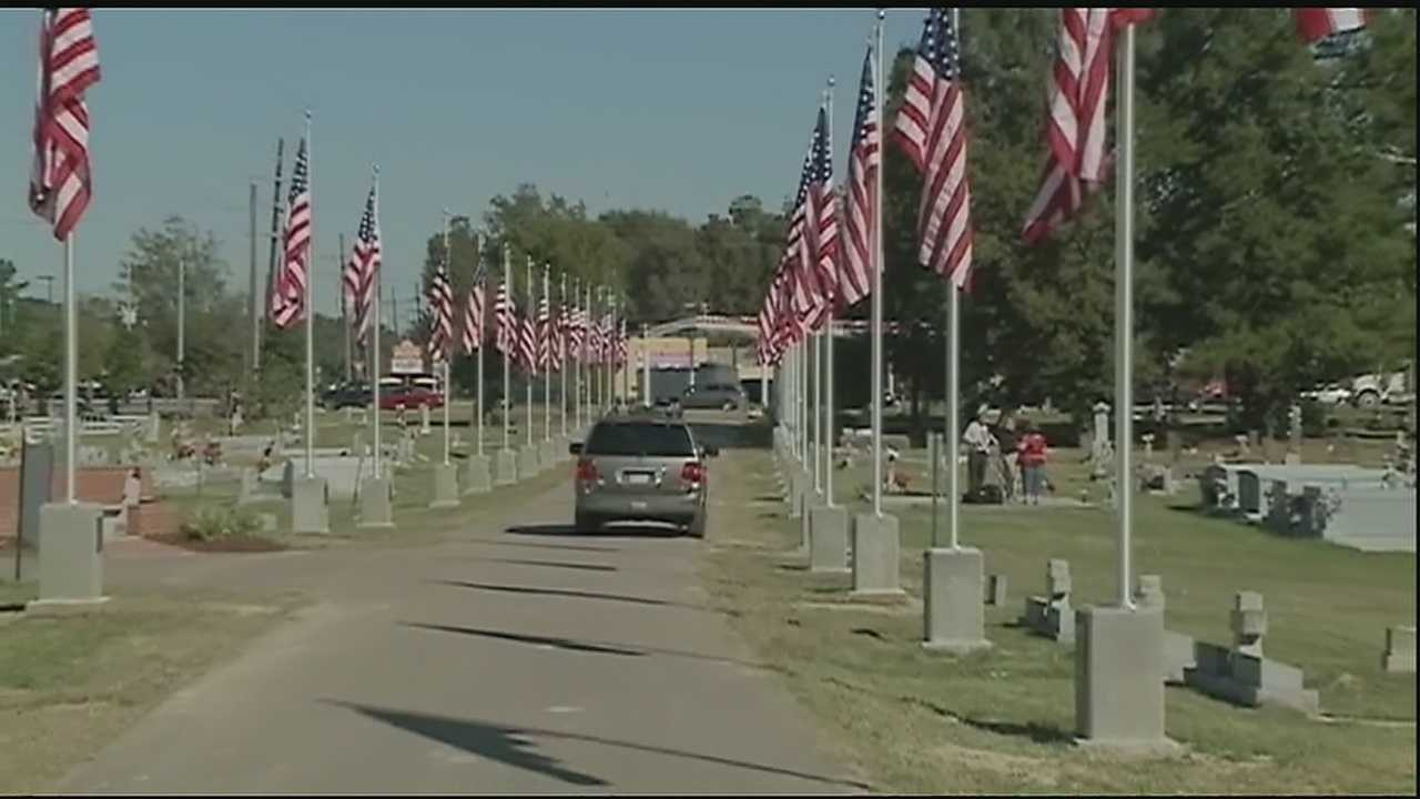 Vets used to have to put the flagpoles up every year on Veterans Day. Now, the flagpoles are permanent.