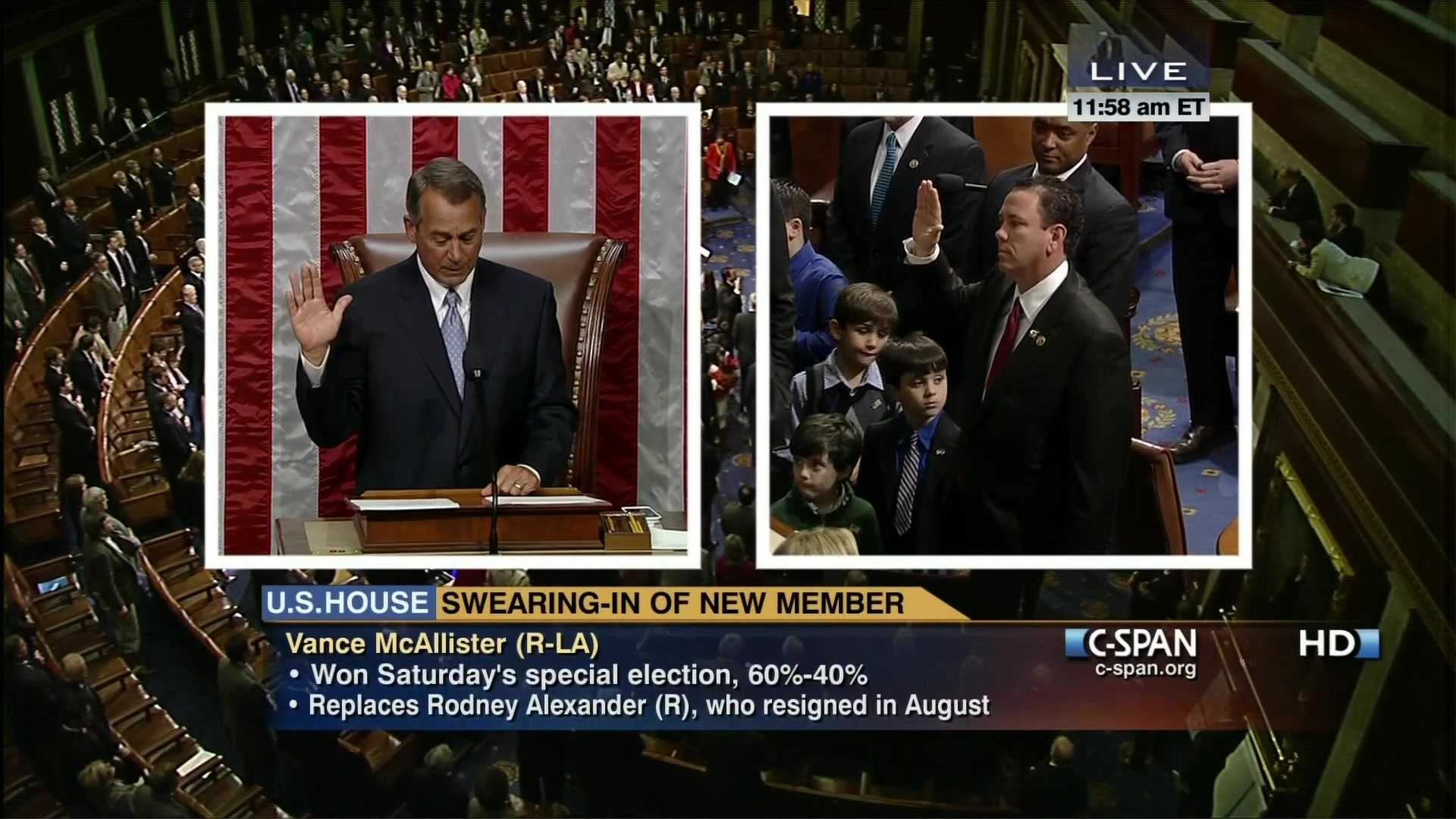Vance McAllister (R-La) being sworn in.