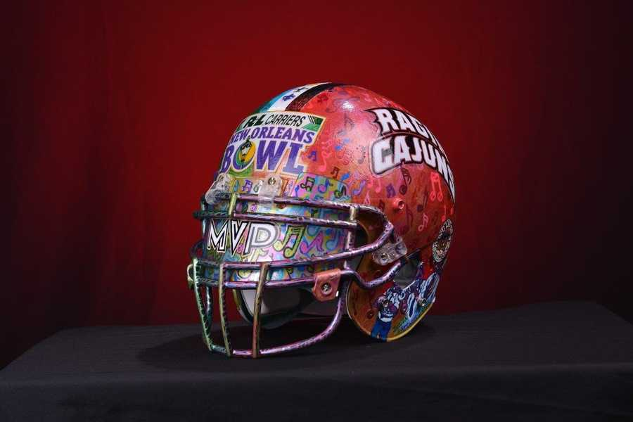 For the second consecutive year, Seither has created the bowl's MVP Award. But it isn't your traditional MVP Award. Instead, it's a helmet etched with scenes of New Orleans that features both bowl themes with accompanying themes and images.
