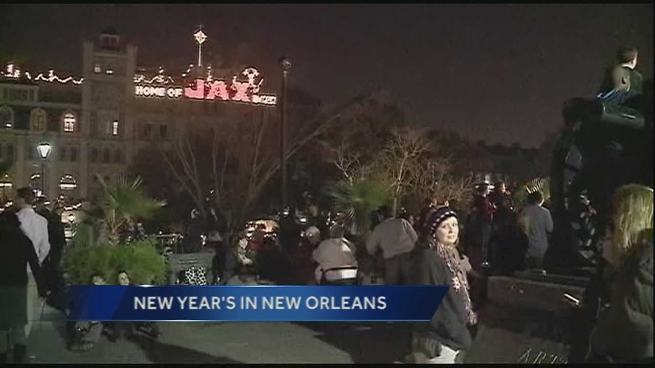 Fireworks over the river accompanying the Fleur-de-lis dropping headlines many New Orleans new year's ceremonies.