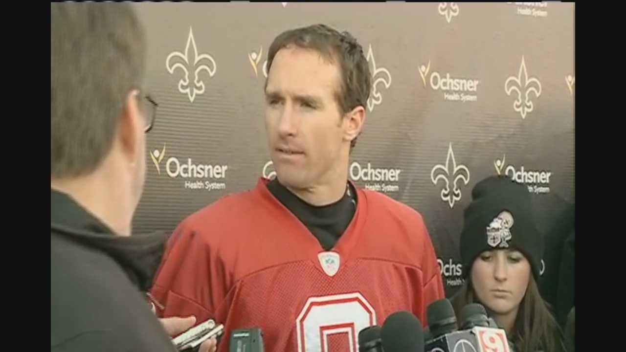 Saints quarterback Drew Brees addresses media