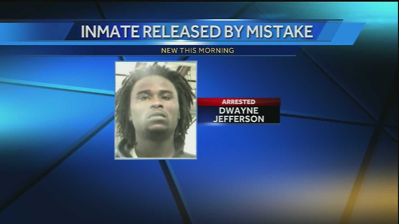 An inmate of the Orleans Parish Prison that was released by mistake was captured.