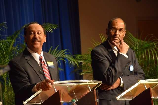 Michael Bagneris and Danatus King take part in the Commitment 2014 mayoral debate.