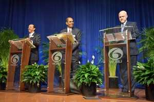 Michael Bagneris and Danatus King challenged Mayor Mitch Landrieu on his first term as mayor during the Commitment 2014 debate on Jan.16 at Dillard University.