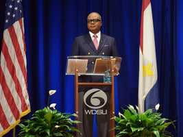 Norman Robinson questioned the candidates for mayor at Dillard University.
