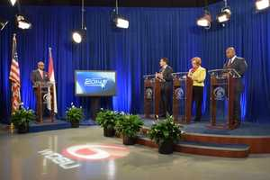 Freddie Charbonnet, Cynthia Hedge Morrell and Jason Williams debate the issues at WDSU studios in New Orleans.
