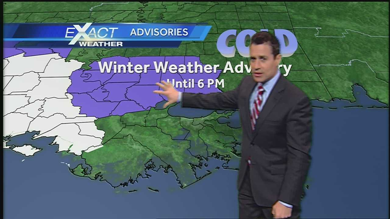 Cold air and lingering moisture could bring light sleet and snow with isolated showers