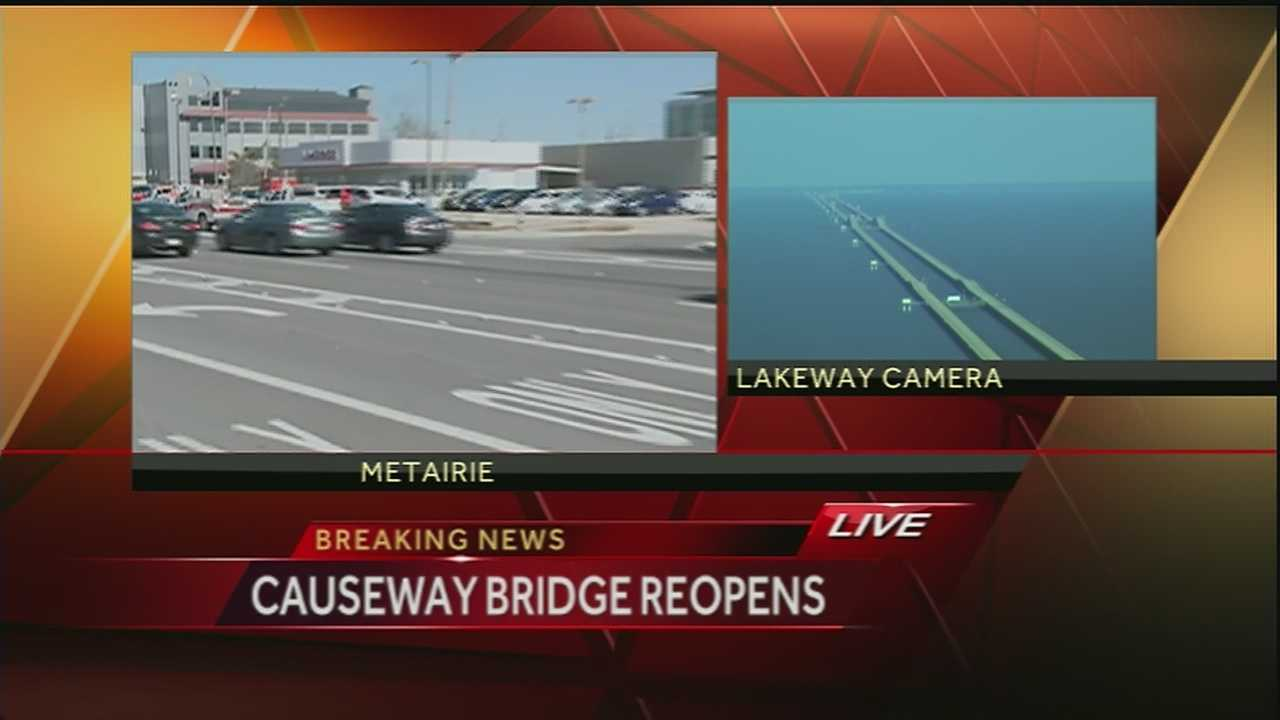 The Causeway reopened Thursday after a winter storm shut the commuter bridge down due to ice.