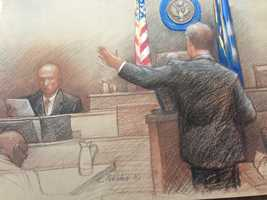 Sketch by Carol PeeblesProsecutors allege that the former Democratic mayor's corruption included the period after Hurricane Katrina struck in 2005, when contractors sought to benefit from potentially lucrative rebuilding jobs in the devastated city.Nagin says he remembers a 2006 family vacation to New York but has no recollection of who paid for the trip.He acknowledged later seeing documentation that a movie theater owner paid for the trip. He strongly denied allegations from prosecutors that the trip was a payoff for help with the theater's tax problems.Nagin also denied that his efforts to help Home Depot open a store in a blighted New Orleans neighborhood was tied to work the retailer gave to his family-owned granite business.