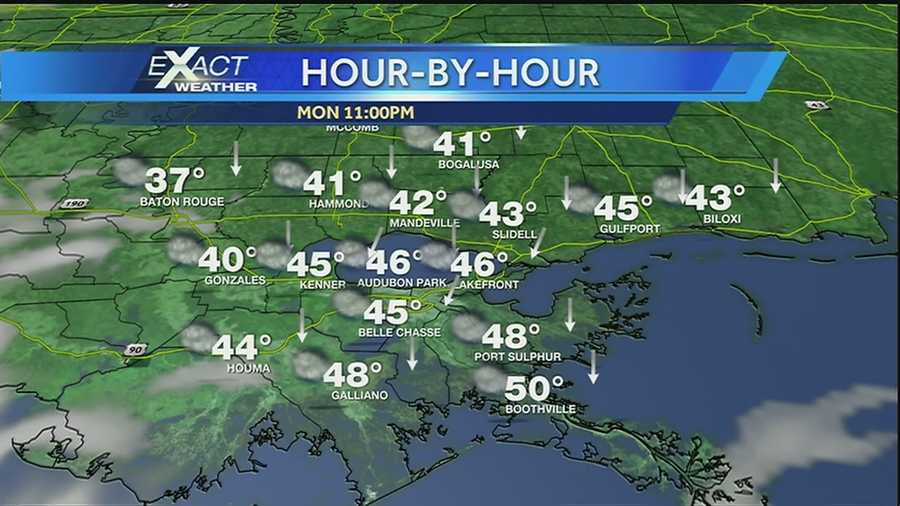 Rain and cold temperatures are in the forecast for Fat Tuesday. Take a look at the temperatures and the rain chances for Mardi Gras.