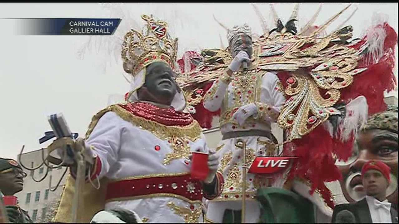 King Zulu gives toast at Gallier Hall