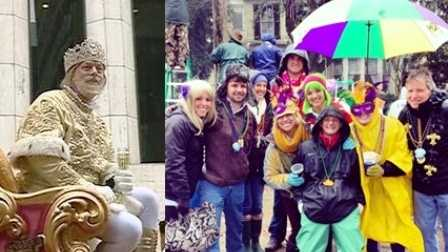 Royalty and reveler alike were doused on a rainy Mardi Gras 2014.