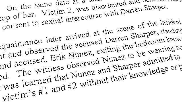 An application for arrest warrants for Darren Sharper and Erik Nunez include a police claim that both men admitted to having sex without the permission of their two accusers. The admissions were reportedly made to unidentified witnesses.