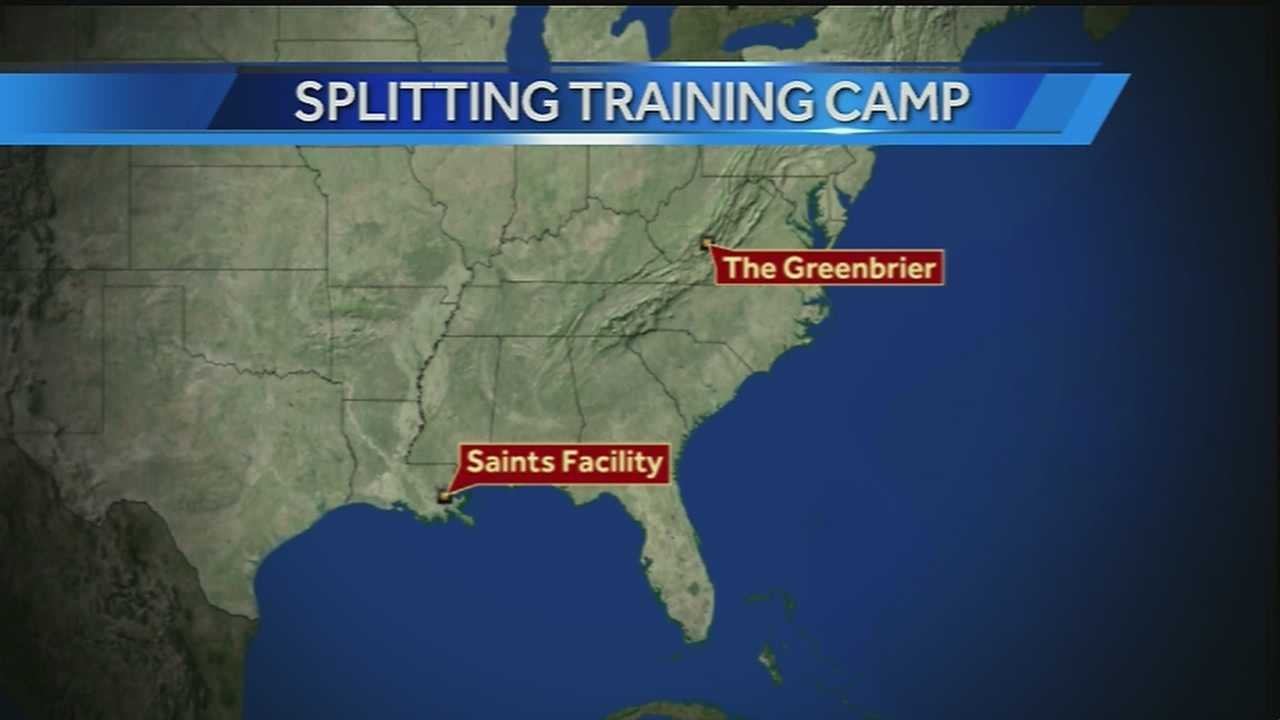 The New Orleans Saints will spend part of this year's NFL training camp at The Greenbrier resort in West Virginia.