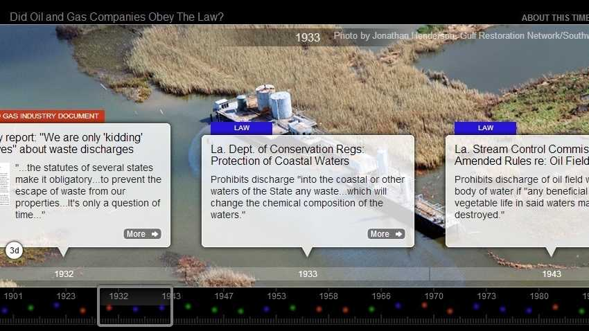 An online presentation makes the argument that various energy companies knowingly violated laws and regulations, leading to damage to Louisiana's wetlands. The timeline is at:http://jonesswanson.com/slfpaecase/timeline/