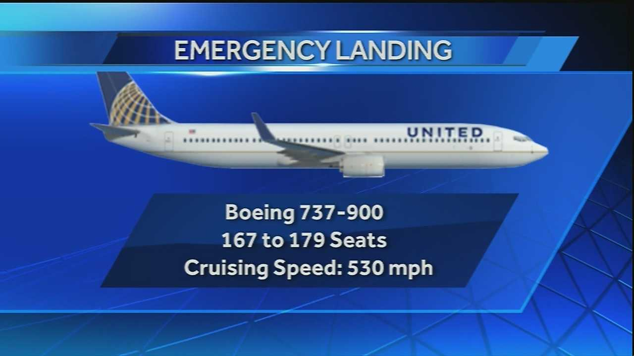 A United Airlines flight bound for Armstrong International Airport makes an emergency landing in Jackson, Miss.