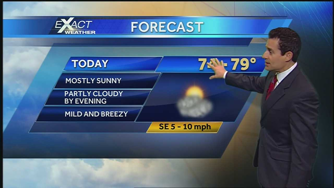 Onshore winds will make for mild conditions as a cold front nears