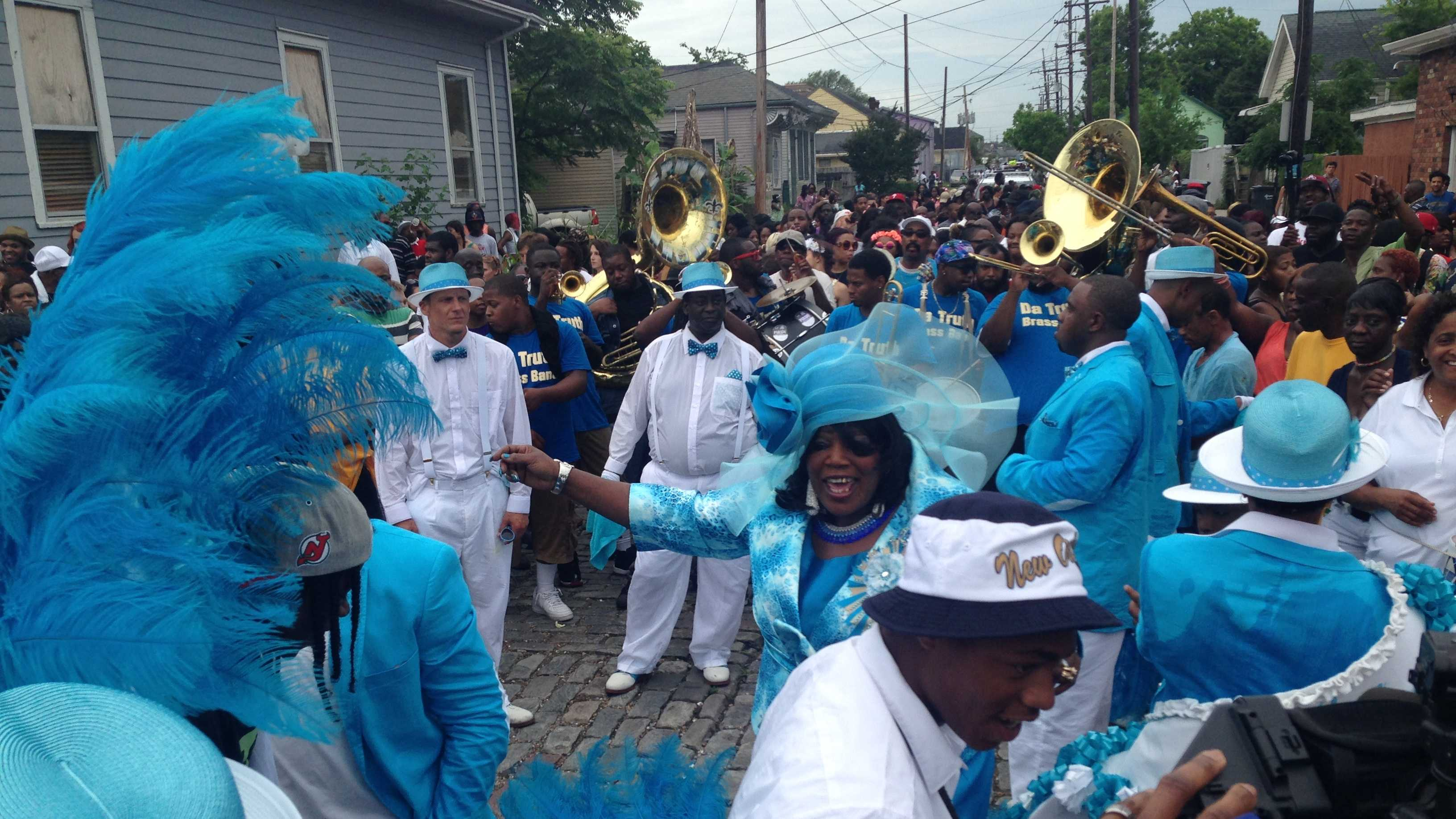 A year after a mass shooting disrupted the Mother's Day second-line, the parade returned to the 7th Ward intersection where the shooting happened.