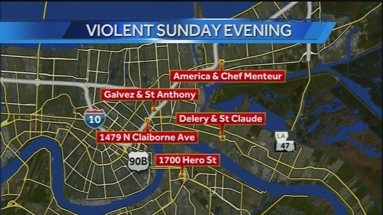 Several people were injured in multiple shootings on Sunday.